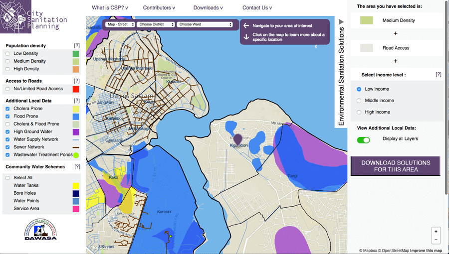 Screenshot of Dar es Salaam map from citysanitationplanning.org