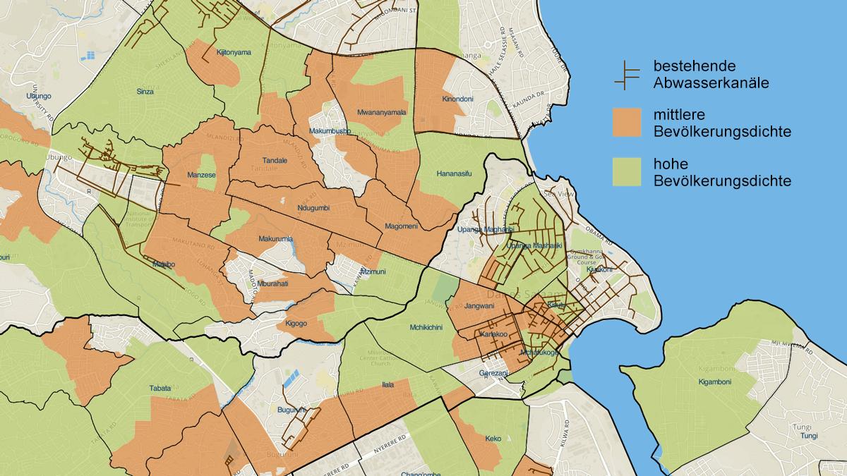 Karte zur stadtweiten Planung der Sanitärversorgung in Daressalam, Tansania